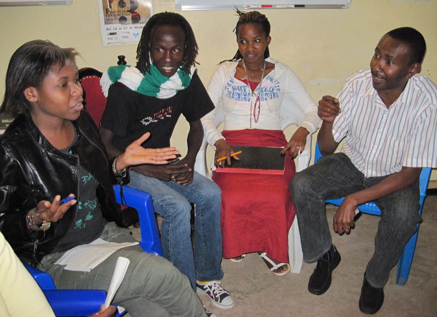 Trainees in class with Ian Mbugua, well known actor/director
