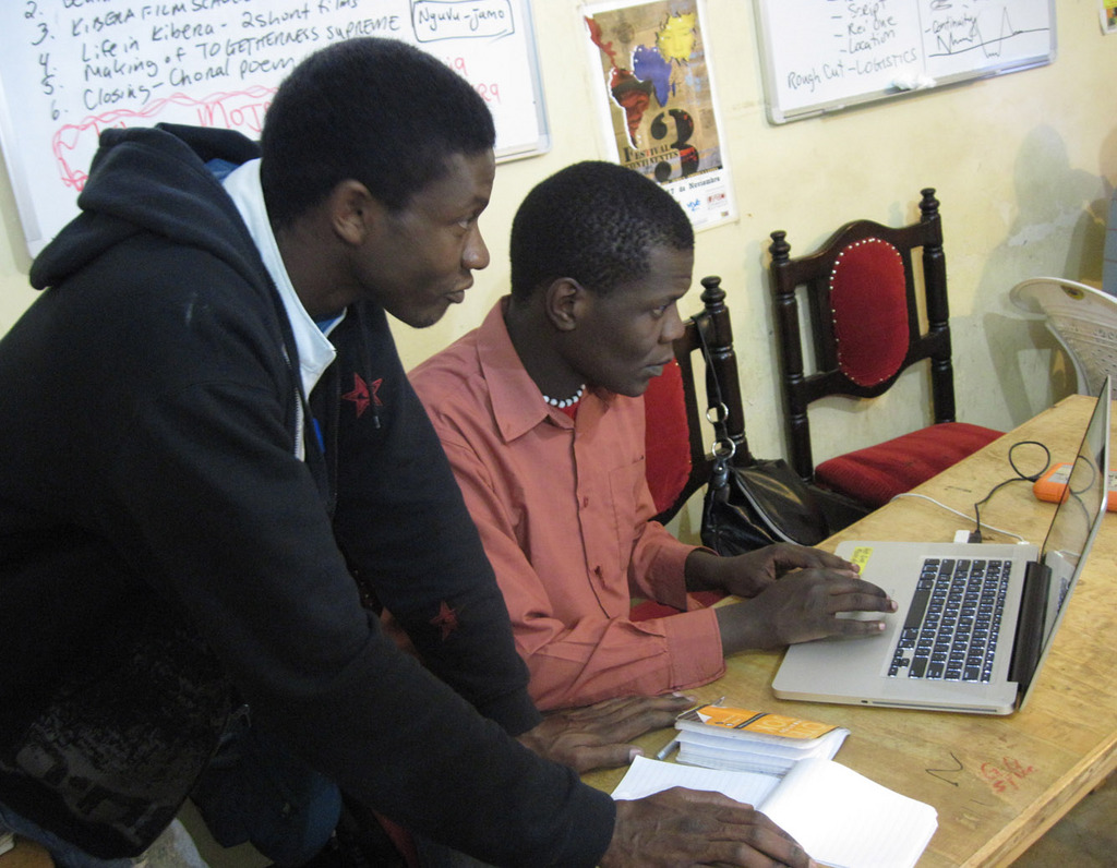 Victor and Jose editing at KIBERA FILM SCHOOL