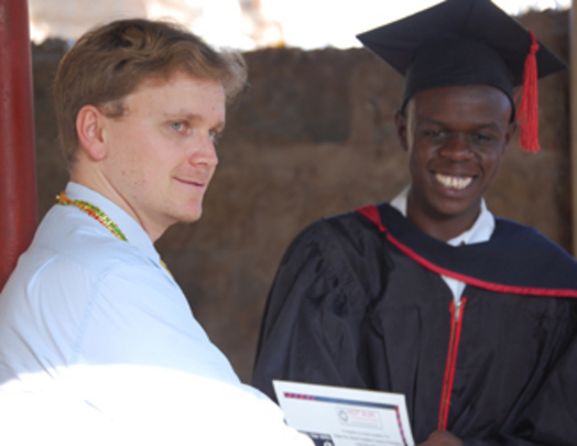 Paul Dziatkowiec congratulates Josphat Keya
