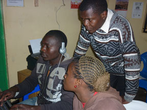 Kibera Film School trainees editing