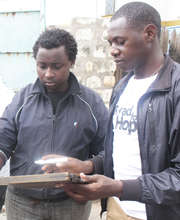 Denis with filmmaker Wilfred a former graduate