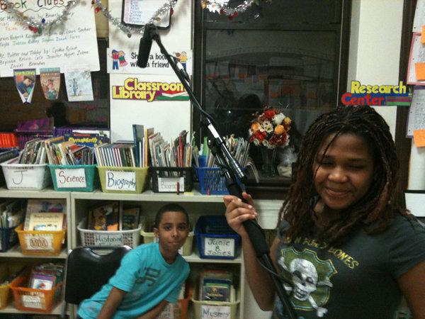 Kayla on boom mic with Wally