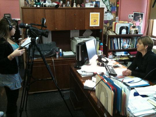 Bella interviewing Principal Schaeffer