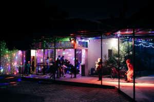 Twinkling lights set up around the hostels