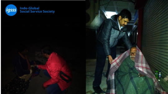 IGSSS Team Distributing Woolens to Homeless