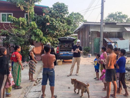 Distributing food.