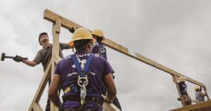 Volunteers completing roof work in Puerto Rico