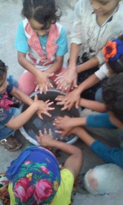 Kids preforming the hygiene awareness