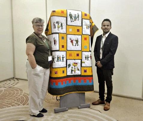 Prabal shows the Bardiya quilt in Philadelphia