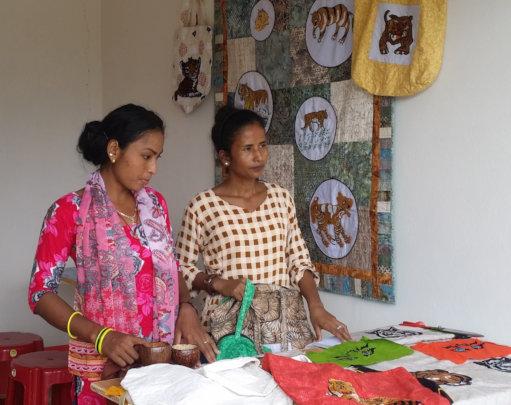 Kushma and Sarita sell Tiger bags before COVID-19