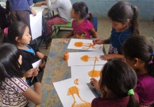 Chacaya students creating art inspired by books!