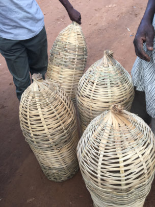 Traditional beehives to be used by the refugees