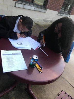 Homework time in the afterschool program.