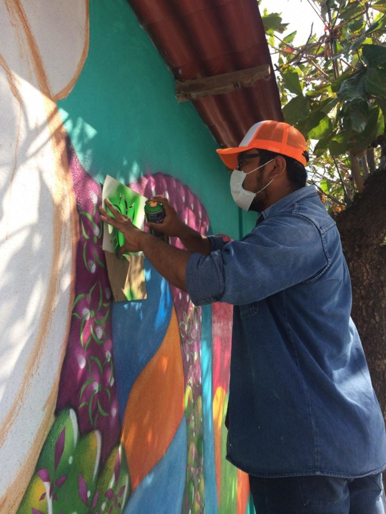 Local volunteer painting