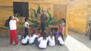 Mural painting with kids