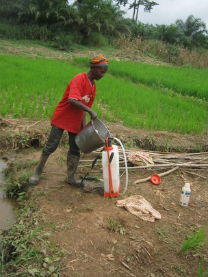 Abena setting up for a chemical treatment