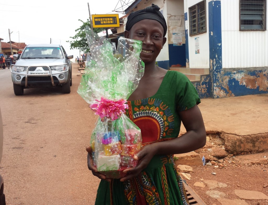 Akosua with her newly decorated products