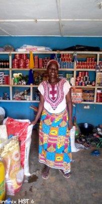 Saudatu in her shop.