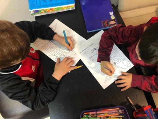 Children solving the Shorebird Migration Maze.