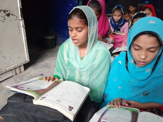 Zahida in her favourite Urdu class