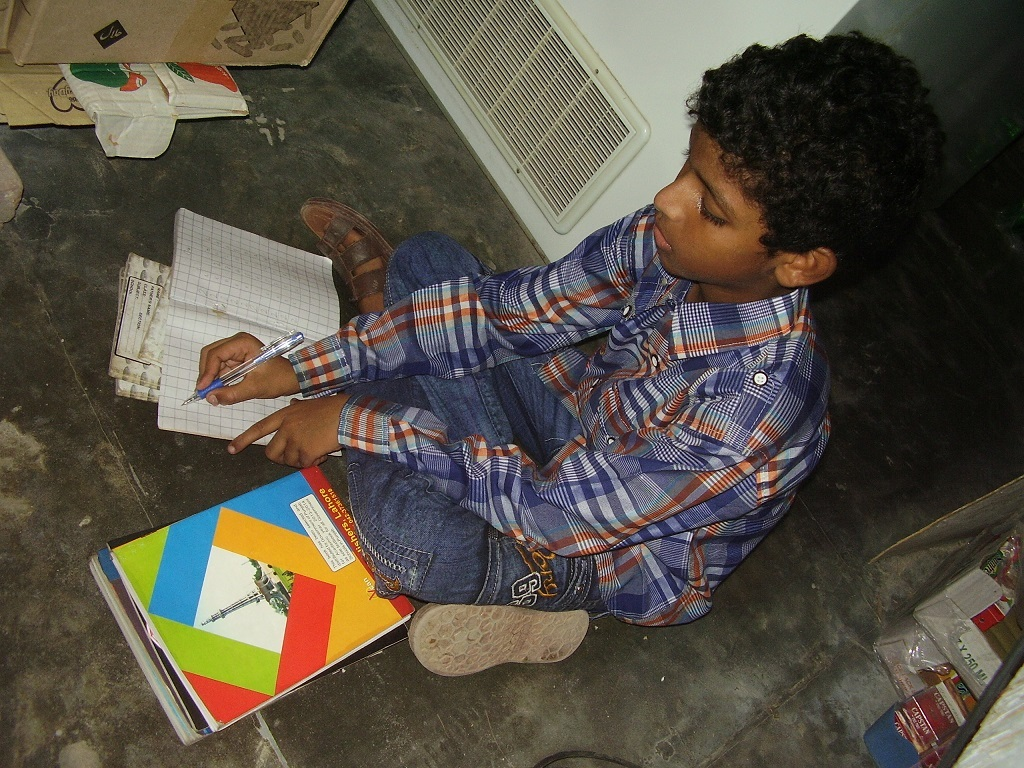 Abid doing homework