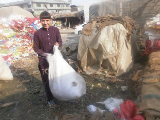Sardar picking garbage in the fruit market