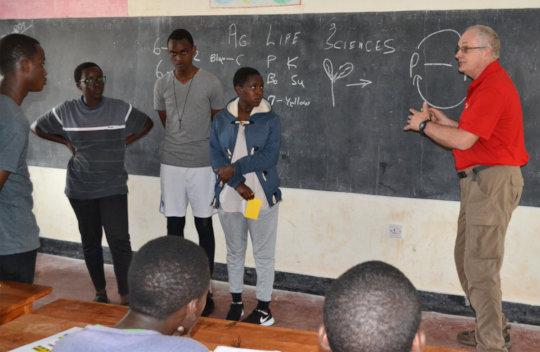 Bob conducting a student training in Rwanagana.