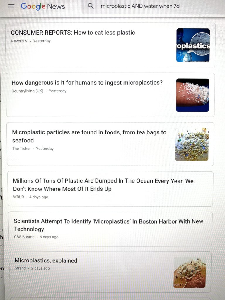 Microplastic AND Water GoogleNews Search - 7days