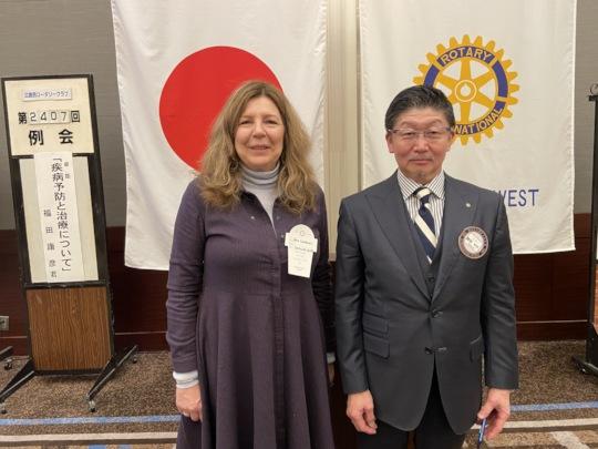 Gina with Rotary Club member Hiro Suwa