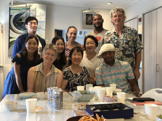 Production team with Artist and survivor Toshiko