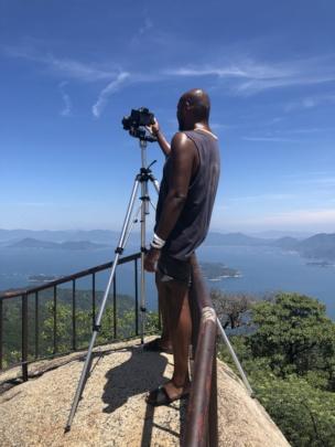 George atop Mt. Misen getting footage