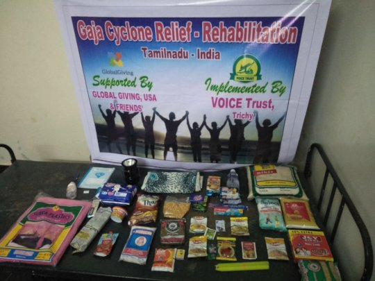 Things given to cyclone affected families