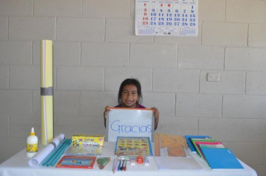 Joselyn getting supplies for grade one