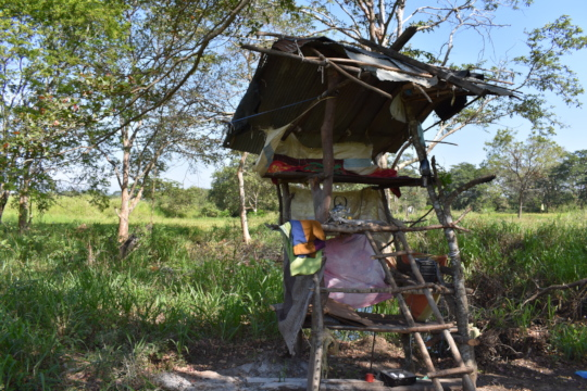Watch huts are used to guard against wildlife.