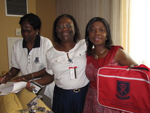 Proudly displaying our school crest  on a tote bag