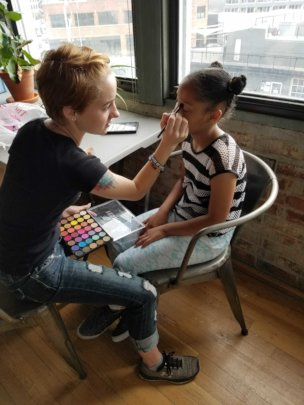Sarah getting her make up done for the shoot