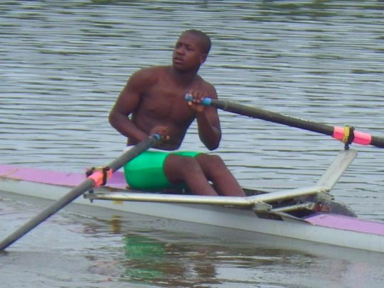 Buhle showing his youthful rowing skills