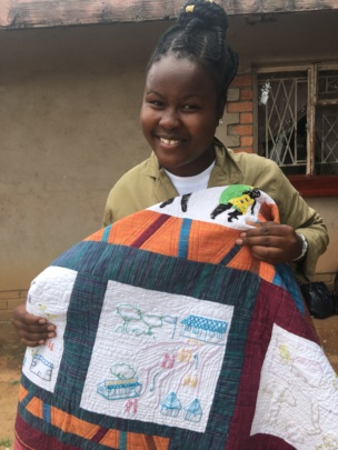 Trish tells her story for the child marriage quilt
