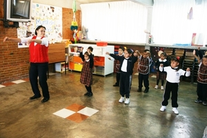 Children during Tai-chi time