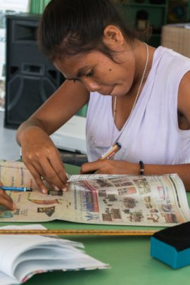 Making bags from old journals in Creative Workshop