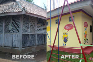 School before and after rebuilding