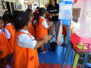 Hygiene training at rebuilt school