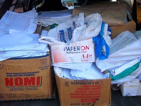 Some of the paper that was donated