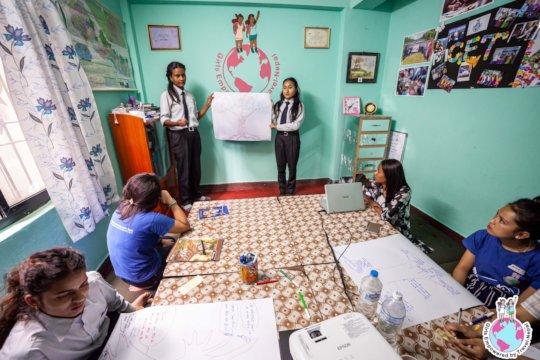 Students presenting during Prekchhya's workshop
