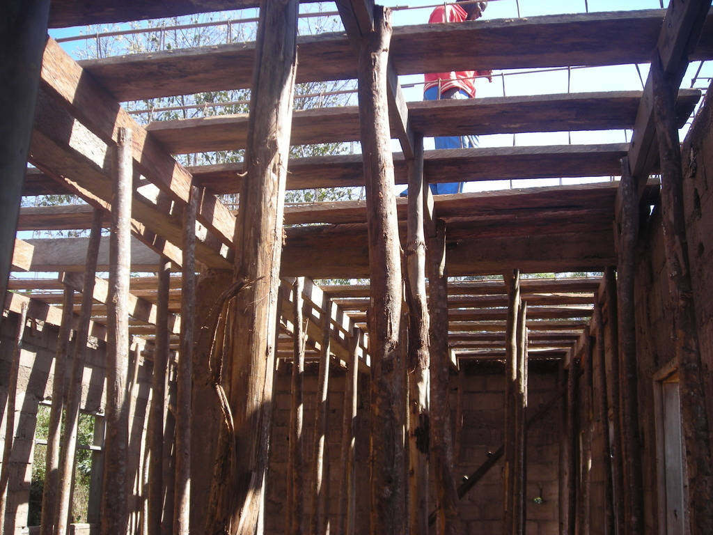 Innside part  supported ready for decking.