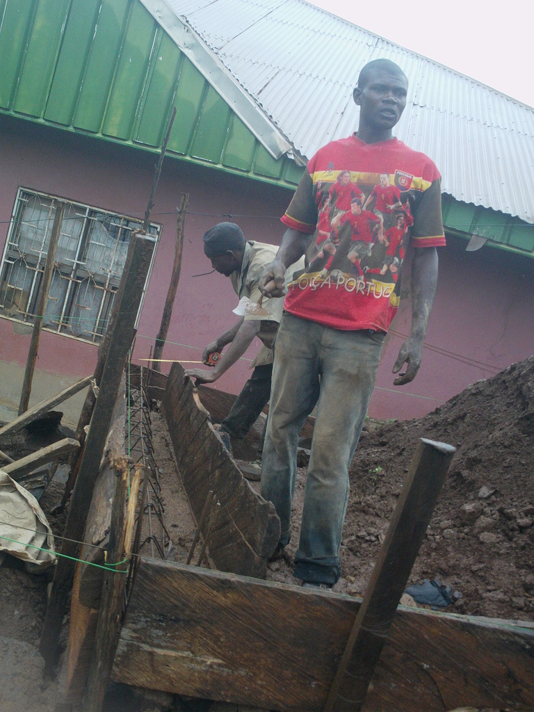 Workers busy with the Foundation
