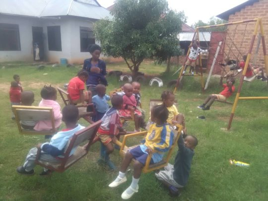 Lois with her students at play time