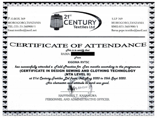 Rabia's Certificate of Completion