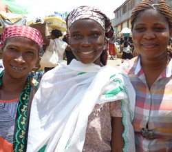 Clients in Nsawam with WT's Priscilla Danso(r)