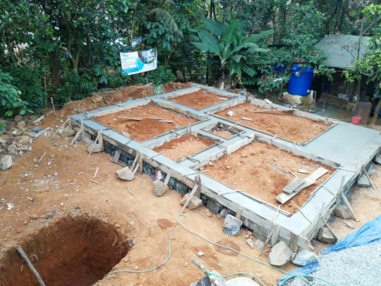 A concrete slab of foundation